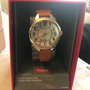 NIB Carriage Watch by Timex leather band